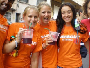 Girls at La Tomatina