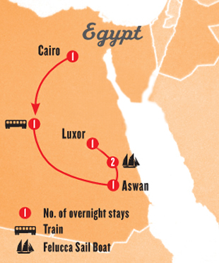Egypt 7 Day Tour Map